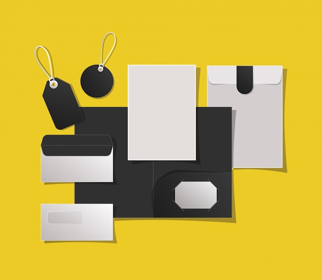 Mockup folder labels and envelopes