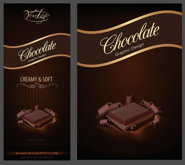 チョコレートパッケージのデザインと広告のモックアップ