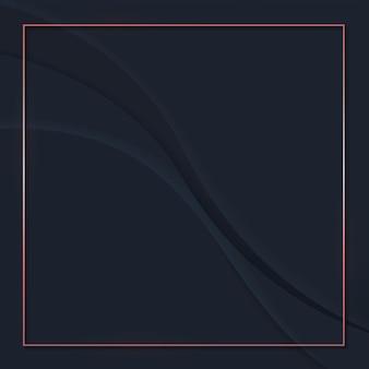 黒の抽象的な波状の背景にモックアップフレーム