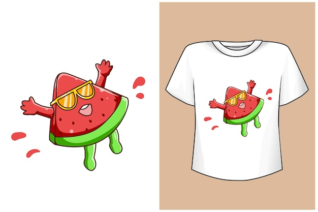 Mockup funny watermelon in the summer