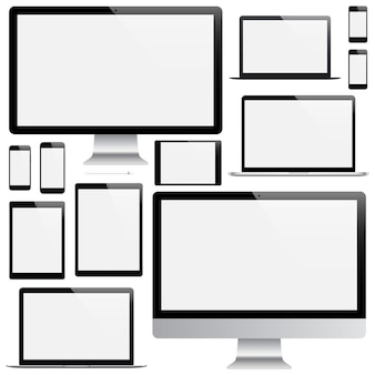 Mockup of gadgets and devices of stylus, smartphone, tablet, laptop and computer monitor with blank screen saver isolated