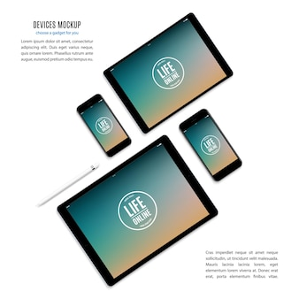 Mockup of gadgets and devices of stylus, smartphone, tablet, laptop and computer monitor with colored screen saver isolated