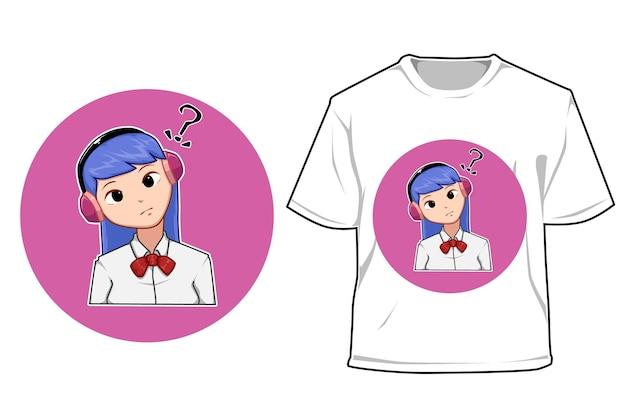 Mockup girl back to school cartoon illustration