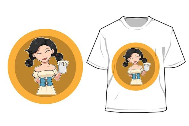 Mockup girl with beer cartoon illustration