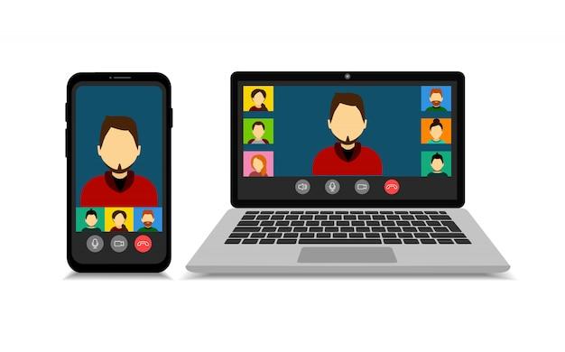 スマートフォンと漫画のスタイルのラップトップでモックアップグループビデオ通話。ビデオ会議。オンライン会議。検疫。