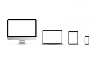 Mockup imac iphone ipad set vector