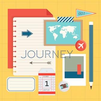 Mockup of journey travel planning vector illustration