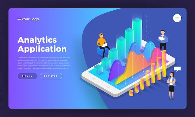 モックアップランディングページのウェブサイトアイソメトリックデザインコンセプトモバイルアプリケーション分析ツール