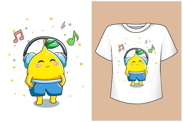 음악과 함께 모형 레몬