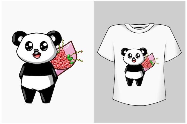 Mockup little panda with flower cartoon