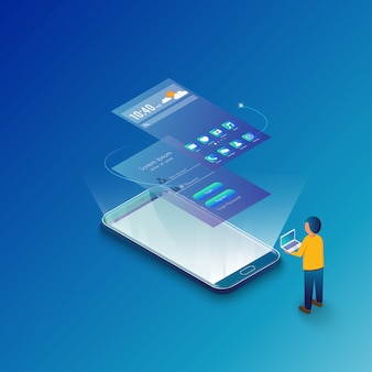 Mockup mobile application concept isometric design.