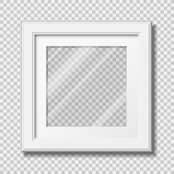Mockup modern wooden frame for photo or pictures with transparent glass