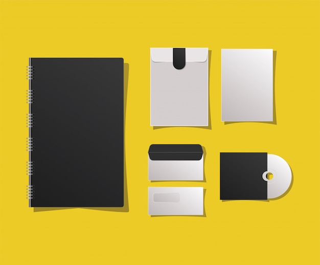 Mockup notebook envelopes and cd
