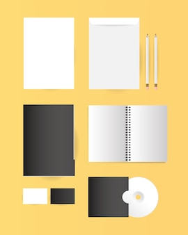 Mockup notebook file cd and envelopes design of corporate identity template and branding theme