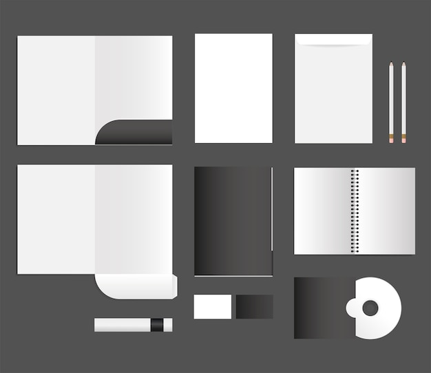 Mockup notebook files cd and envelopes design of corporate identity template and branding theme