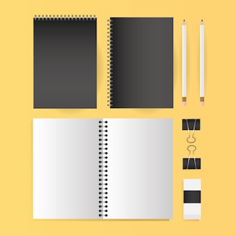 Mockup notebooks pencils and clips design of corporate identity template and branding theme