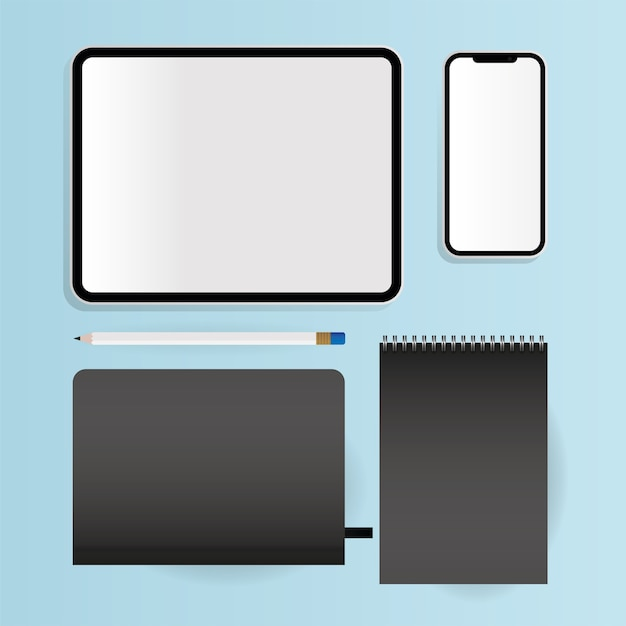 Mockup notebooks tablet and smartphone design of corporate identity template and branding theme