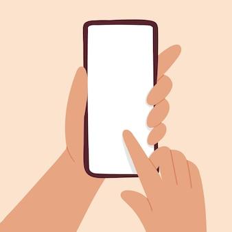 Макет телефона с рукой. белый дисплей. стиль бохо. в вашем дизайне