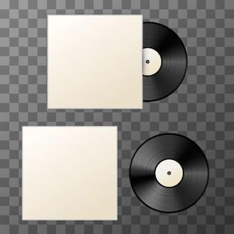 Макет чистого винилового диска с крышкой