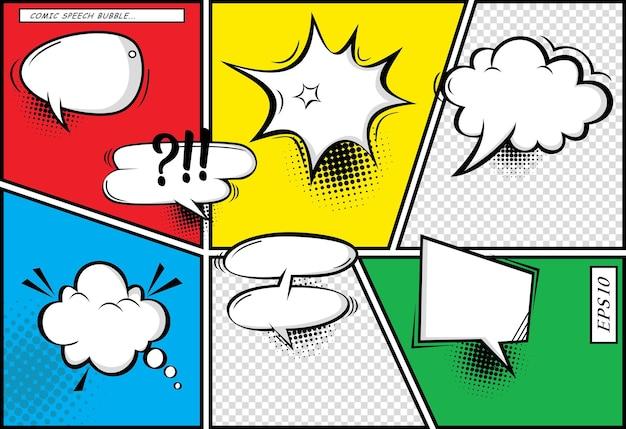 텍스트 음성 버블 기호 음향 효과를 위한 장소가 있는 만화 페이지 모형