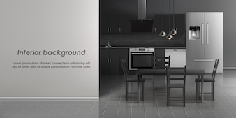 Mockup of kitchen room interior with household appliances, refrigerator, stove with cooker
