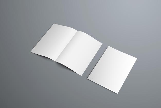 開いた二つ折りのパンフレットと表紙のモックアップ。デザインのプレゼンテーション用のフォーム。