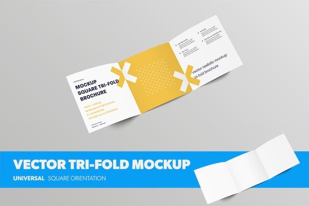 Макет открытой бизнес-брошюры с абстрактным рисунком, вектор квадратный тройной с реалистичными тенями, для презентации дизайна. шаблон брошюры сгиба пустой рулон, изолированные на фоне. макет каталога