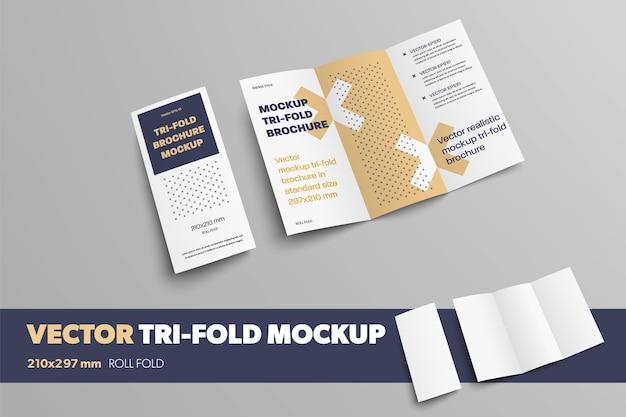 Мокап реалистичного вектора втрое для презентации дизайна. бизнес-буклет на сером фоне с абстрактным рисунком. открытый и закрытый шаблон брошюры