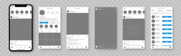 Мокап социальной сети. шаблон смартфона для приложения социальных сетей. приложение интерфейса социальной сети.