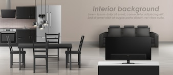Mockup of studio apartment with living room and kitchen. Modern interior with furniture