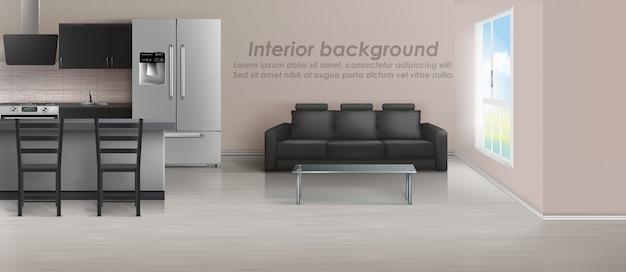 Макет однокомнатной квартиры с гостиной и кухней. современный интерьер с мебелью