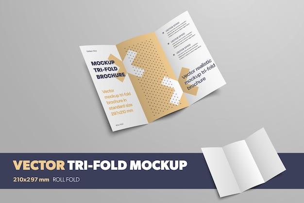 Макет вектора открытой тройной складки на сером фоне для презентации дизайна. шаблон бизнес-брошюры с абстрактным рисунком. буклет с реалистичными тенями