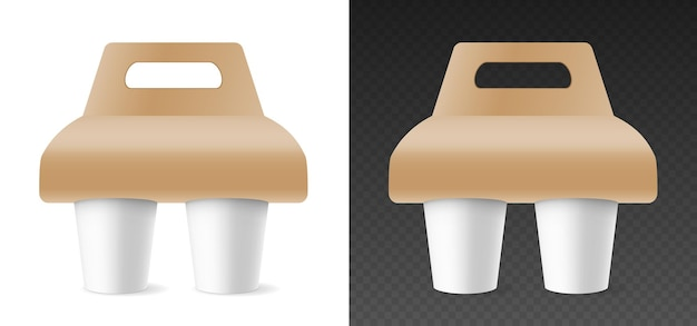 Mockup of paper cups in cardboard holder for carrying. template mugs for hot beverages editable for branding. 3d rendering realistic design. vector illustration