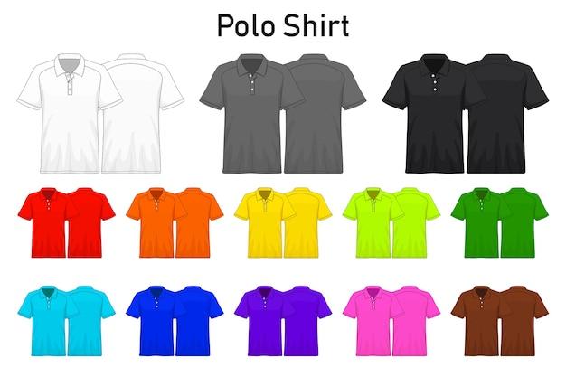 Mockup polo shirt color collection set