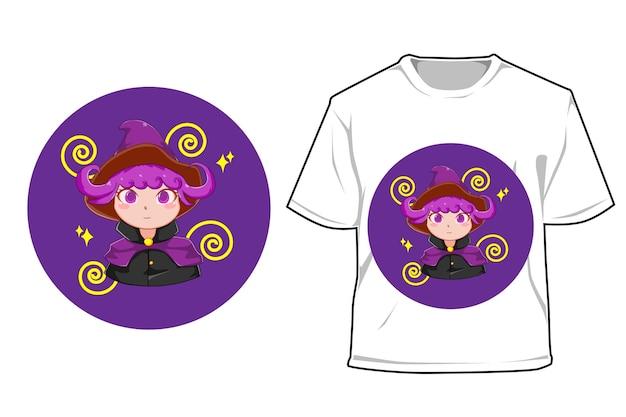 Мокап фиолетовая ведьма девушка иллюстрации шаржа