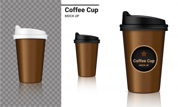 Mockup realistic coffee cup packaging product