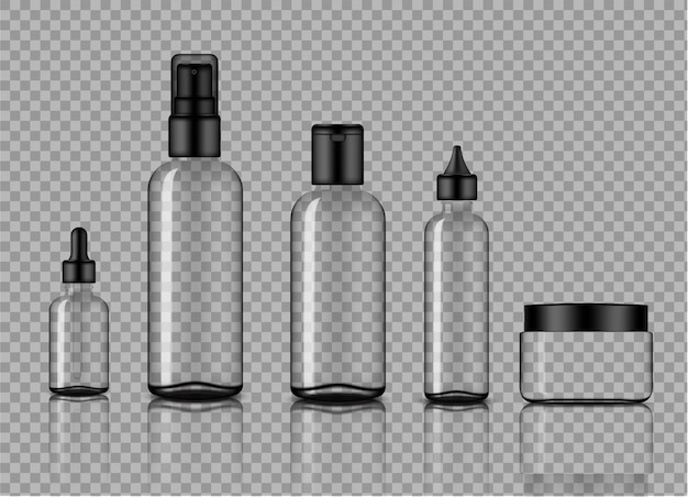 Mockup realistic transparent glass dropper and spray bottle skincare product