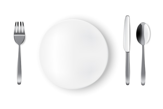 Mockup realistic white plate or dish, spoon fork and knife on dining table for food