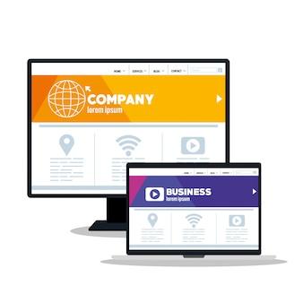 モックアップレスポンシブweb、コンピューターおよびラップトップでのコンセプトwebサイト開発