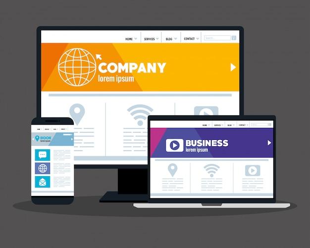 モックアップレスポンシブウェブ、コンピューター、ラップトップ、スマートフォンでのコンセプトウェブサイト開発