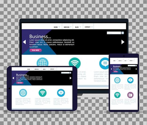 モックアップレスポンシブウェブ、ラップトップ、タブレット、スマートフォンでのコンセプトウェブサイト開発