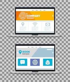 モックアップレスポンシブウェブ、ラップトップでのコンセプトウェブサイト開発