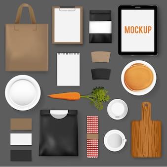 モックアップセットコレクションコーヒーカフェのベクトル図
