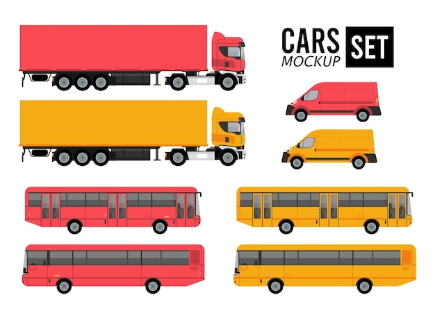 Mockup set colors cars vehicles transport