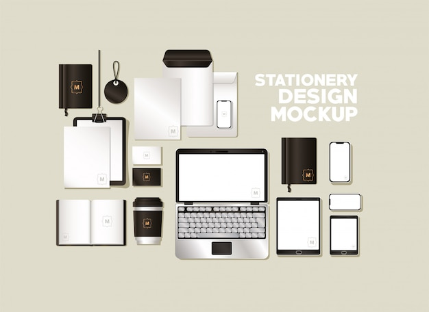 コーポレートアイデンティティと文房具のデザインテーマの黒のブランディングが設定されたモックアップ