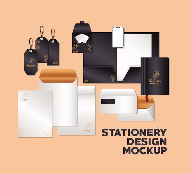 Набор макетов с черным логотипом с листьями