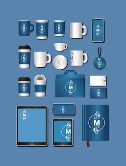 Набор мокапов с синим и логотипом m