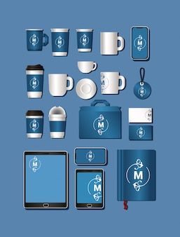 Mockup set with blue and m branding
