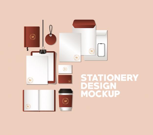 Mockup set with brown branding