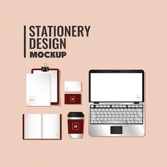 コーポレートアイデンティティと文房具のデザインテーマの濃い赤のブランディングが設定されたモックアップ